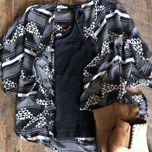 Black and White Aztec Print Kimono